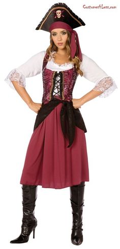 Burgundy Pirate Wench Adult Plus Costume at Costumes4Less.com