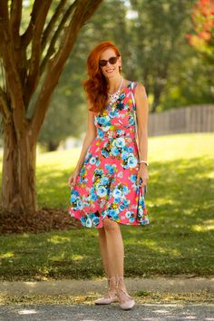 Turning Heads #Linkup-What to Wear to Summer Brunch-Pink Floral Vintage Inspired Karina Dress - Elegantly Dressed & Stylish - Over 40 Fashion Blog