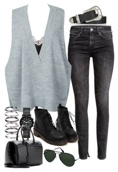 """Sin título #2012"" by alx97 ❤ liked on Polyvore featuring Topshop, H&M, WithChic, DKNY, M.N.G, Yves Saint Laurent, Ray-Ban, women's clothing, women and female"