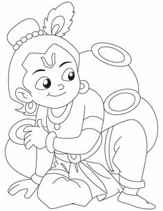 outline of lord krishna Art Drawings For Kids, Outline Drawings, Art Drawings Sketches, Cartoon Drawings, Easy Drawings, Bal Krishna, Krishna Art, Lord Krishna, Krishna Leela