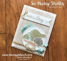 DIRECT LINK to Stampin' Up! All New So Many Shells and Burlap Background Stamps, Paired together they make a beautiful Seas the Day Card.
