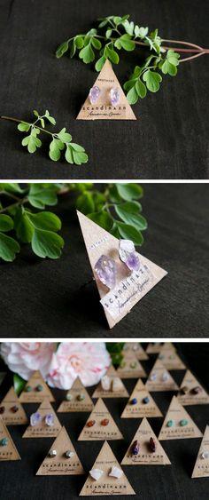 Ombre Purple Amethyst Raw Crystal Gemstone studs + + + Scandinazn