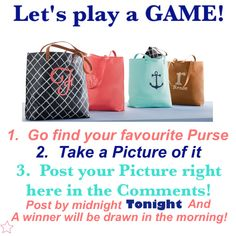 Interactive purse game for Facebook VIP group. Thirty-One spring/summer 2018 www.mythirtyone.ca/sabrinawhite Thirty One Games, My Thirty One, Thirty One Party, Thirty One Consultant, Independent Consultant, Thirty One Facebook, Thirty One Purses, Thirty One Catalog, Purse Game
