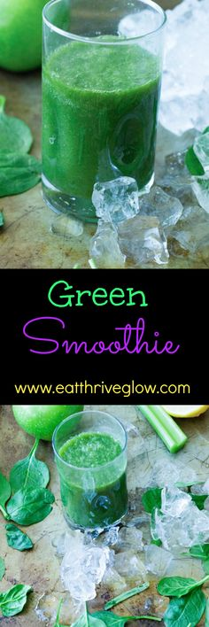 Healthy green smoothie drink recipe. Has antioxidants, improves energy, makes skin glow. Perfect breakfast!