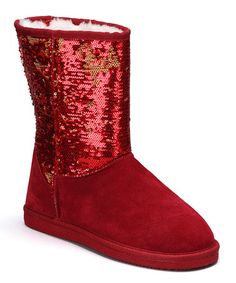 Another great find on #zulily! Red Sequin Suede Boot - Women #zulilyfinds