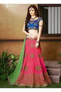Pink Silk Party Wear Heavy Embroidery Work Lehenga Choli