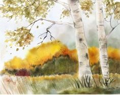 """One More With Feeling- My birches in early fall"" - Digital Watercolour, in Landscapes"