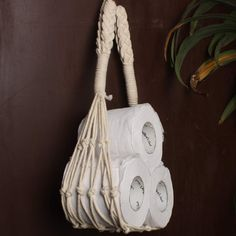 Macrame Toilet Paper Storage Holder - Boho Nautical Style Home Decor Wall Mount Tissue Roll Stand Fits Rolls - 36 Inches Bathroom Toilet Paper Holders, Toilet Paper Storage, Toilet Paper Roll Crafts, Boho Bathroom, Bathroom Ideas, Macrame Design, Boho Diy, Bohemian Decor, Macrame Projects