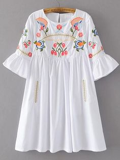 Embroidery dress - Shop Bell Sleeve Flower Embroidery Dress online SheIn offers Bell Sleeve Flower Embroidery Dress & more to fit your fashionable needs Stylish Dresses, Casual Dresses, Girls Dresses, Kurta Designs, Blouse Designs, Hijab Fashion, Fashion Dresses, Frock Design, Embroidery Dress