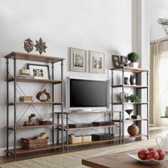 Myra Vintage Industrial Modern Rustic 3-piece TV Stand/ 40-inch Bookcase Set | Overstock.com