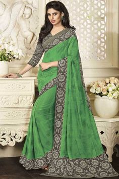 Green Chiffon Saree with art silk blouse online  http://www.andaazfashion.co.uk/festival/eid-collection