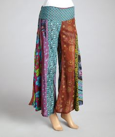 Look at this Jayli Blue & Burgundy Palazzo Pants on #zulily today!