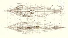 "Nautilus Blueprints! My favorite childhood book ever ""20,000 Leagues Under the Sea"""