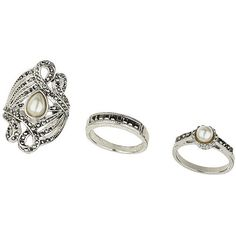 TOPSHOP Pearl Ring Pack (13 CAD) ❤ liked on Polyvore featuring jewelry, rings, accessories, silver, set rings, pearl rings, pearl jewelry, pearl jewellery and topshop jewelry
