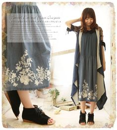 Japanese Mori Girl Retro Summer Sleeveless Lagenlook Cotton embroidery Dress #H9 #NEW #Casual