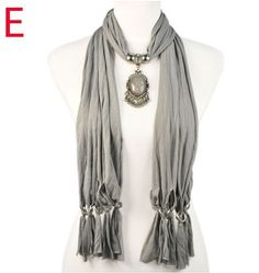 Stylish Grace Pendant Scarves for Women Canada Wholesale-Grey color