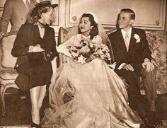 Rita Hayworth at the wedding of Princess Fatima of Persia and Vincent Les Hillyer, Paris, 1950
