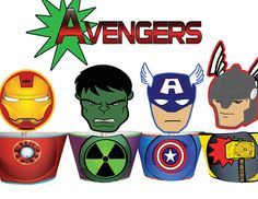 INSTANT DOWNLOAD Avengers Superhero Cupcake Toppers & Wrappers - Printables