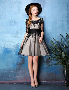 Cocktail Party Dress A-line Scoop Knee-length Lace / Tulle with Lace / Ruching 4573571 2017 – $109.99