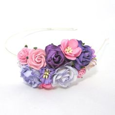 Purple and pink roses Floral Headband Flower Fascinator Vintage Wedding Party Bridal Accessory Bridesmaid statement on Etsy, 141,80kr