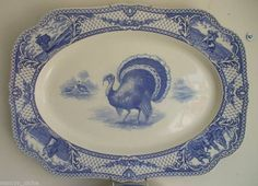 Nancy's Daily Dish: Featured in Romantic Homes Magazine & a Blue Transferware Turkey Platter Vintage Thanksgiving, Thanksgiving Table, Thanksgiving Decorations, Thanksgiving Wishes, Blue And White China, Blue China, Love Blue, Turkey Plates, Turkey Dishes