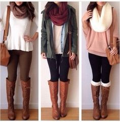 Love all of these - fashion - teen - teen fashion - outfit - teen outfit - fall - winter - fall outfit - winter outfit - fall fashion - winter fashion - teen winter fashion - teen fall fashion - Look Fashion, Fashion Outfits, Womens Fashion, Scarf Outfits, Fashion Fall, Fashion Boots, Outfits 2014, Boot Outfits, Fashion 2015