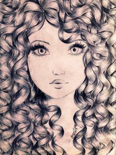 """An idea of what I want to draw. Only the hair covering up one eye, and I want the hair to be more flowy, not so curly. And I want the edges to just kind of """"blend"""" into the paper o.o I don't know."""