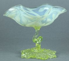 C1890 SUPERB ANTIQUE ENGLISH YELLOW VASELINE GLASS STEM DISH WITH FLORAL DESIGNS $550.00