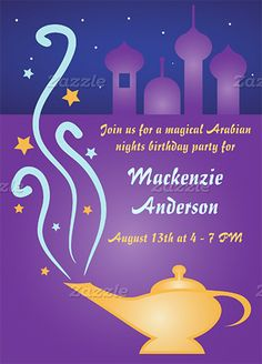 Fun invite with genie's magic lamp. Find everything you need to plan your own Arabian Nights, Moroccan or Casablanca Party at http://sparklerparties.com/arabian-nights/