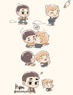 O and Xiu fanart Exo Kokobop, Exo 12, Kpop Exo, Chibi Boy, Cute Chibi, Kpop Drawings, Cute Drawings, Exo Cartoon, Exo For Life