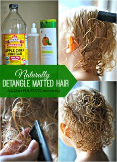 How to Detangle Matted Hair All Natural recipe for conditioner and detangler Best Detangler, Diy Hair Detangler, Natural Hair Tips, Natural Hair Styles, Natural Things, Natural Beauty, Doterra, Matted Hair, Kids Curly Hairstyles