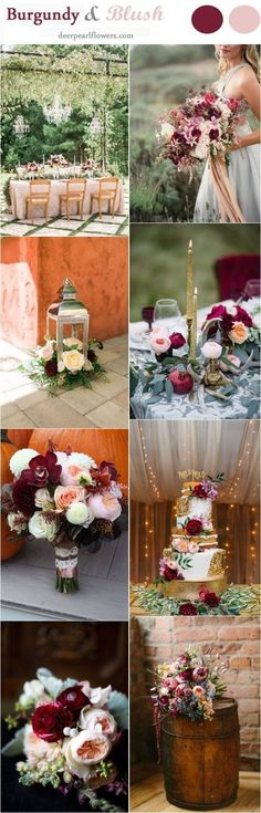 Burgundy and Blush Fall Wedding Color Ideas / www. october wedding colors schemes / fall wedding ideas colors october / fall wedding ideas november / fall winter wedding / fall colors for wedding Blush Fall Wedding, White Wedding Flowers, Fall Wedding Colors, Burgundy Wedding, Autumn Wedding, 2018 Wedding Colors, August Wedding Colors, Navy Fall Weddings, Wedding White