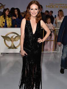 Julianne Moore wearing a deep cut black embellished evening dress // Red carpet throwback