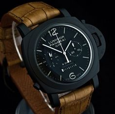 Panerai PAM317, ceramic case on gold leather strap!