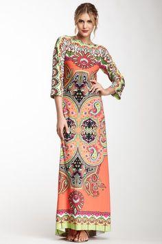 MARC BOUWER HYBRID Paisley Jersey Maxi Dress