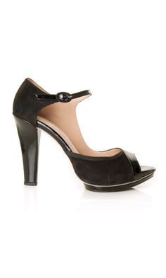 "Repetto black asymetrical goatskin suede and patent leather mary-jane ""Simone"" #sandal - #ss13 www.sansovinomoda.it"