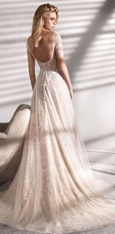 """Nicole Spose Wedding Dresses – Nicole Couture 2020 Bridal Collection A refined and feminine dress: its""""A line"""" light pink skirt in glitter tulle makes... Light Pink Wedding Dress, Ethereal Wedding Dress, Blush Pink Wedding Dress, Rustic Wedding Dresses, Wedding Bridesmaid Dresses, Wedding Dress Styles, Dream Wedding Dresses, Light Pink Dresses, Wedding Dress Crafts"""