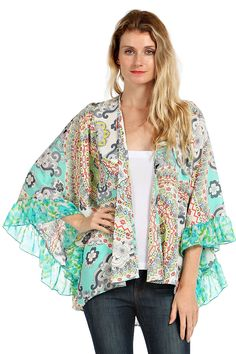 INDIAN PRINT RUFFLE TRIM CARDIGAN- Mint