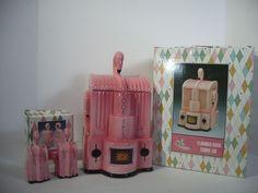 Pink Flamingo Radio Cookie Jar Salt Pepper Vandor Set of 3 Boxes Miami Art Deco #Vandor