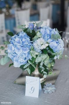 29 Classic Blue Wedding Decorations In Different Styles Blue Hydrangea Centerpieces, Blue Flower Arrangements, Blue Hydrangea Wedding, Floral Wedding, Wedding Blue, Rustic Wedding, Blue Hydrangea Bouquet, Trendy Wedding, Blue Wedding Bouquets