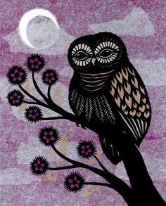 Owl At Dusk Cut Paper Art Print от ruralpearl на Etsy