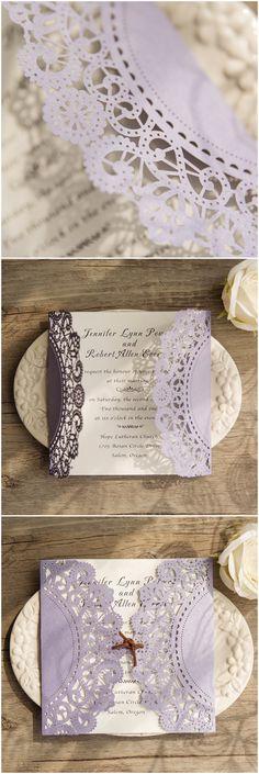 chic rustic lavender laser cut wedding invitations @elegantwinvites