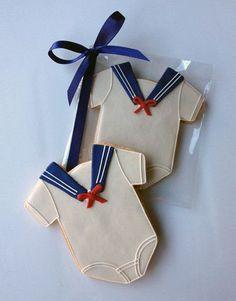 Casue — Decorated Baby Sailor Onesie Cookies by Casue Fancy Cookies, Iced Cookies, Cute Cookies, Royal Icing Cookies, Cupcake Cookies, Cookies Et Biscuits, Sugar Cookies, Cupcakes, Baby Boy Cookies