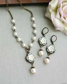 Necklace and Earring Set. A Vintage Style Soft Grey Blue, Ivory Pansy Flower, Pearl. Bridesmaids Gifts. Maid of Honor. Spring First Love.. $46.00, via Etsy.
