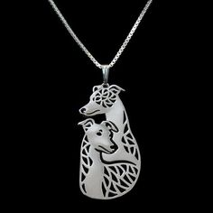 Greyhound Dog Couple Cute 3D Cutout Necklace