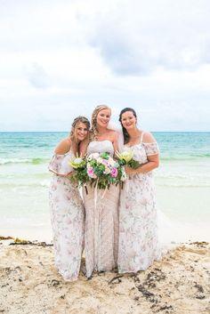 Boho Beach Wedding in Playa del Carmen, Mexico.   (Wedding Photography by Fun In The Sun Weddings)  https://funinthesunweddings.com/wedding-stories/emily-clay-playa-del-carmen-wedding-grand-coral-beach-club/