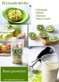 Health and Fitness on Share Sunday - A smoothie a day… apple, kiwi, banana, yogurt & honey… sign me up. I usually have a smoothie a - Easy Smoothies, Smoothie Drinks, Green Smoothies, Loose Weight Smoothies, Healthy Morning Smoothies, Dinner Smoothie, Smoothie Detox, Smoothies For Kids, Oatmeal Smoothies