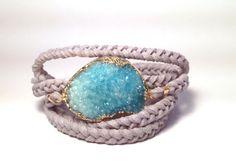 ocean blue druzy gemstone wrap bracelets suede by ThistleandThatch