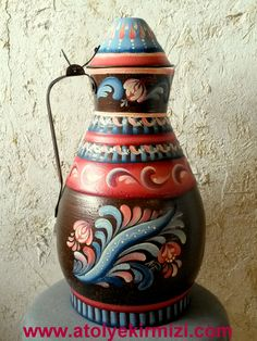 tole painting, norwegian rosemaling. pitcher, water can, decorative art