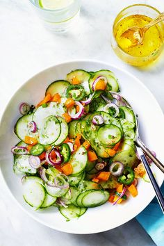 Here's a light and refreshing salad that will elevate your lunch routine. Jalapeño brings a kick of spice while cucumber offer crunch and springy freshness to this quick dish. The very thin s…